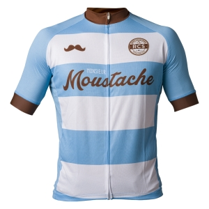 Monsieur Moustache Retro Cycling Shirt voorkant